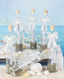 invito cerimonia bottiglia vetro portamessaggio con tappo sughero fiocco argento e bianco e conchiglia