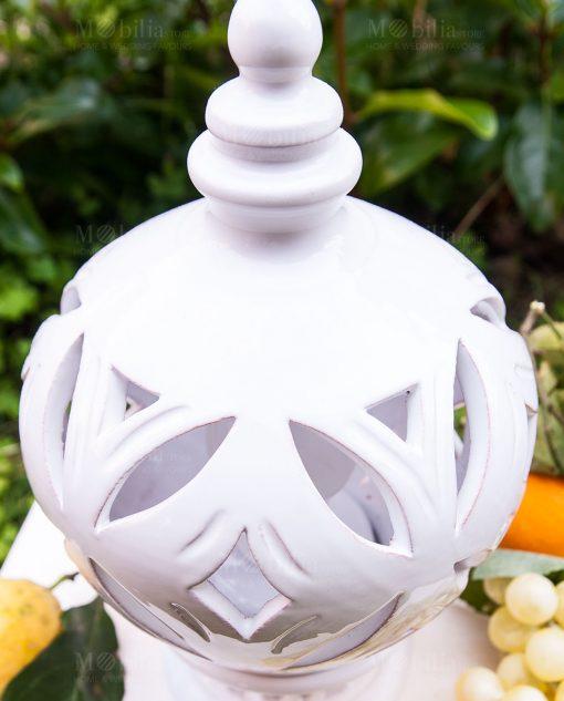 lampada bianca piccola ceramica artigianale caltagirone sicilia