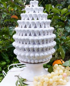 lampada da tavolo pigna bianca ceramica artigianale caltagirone sicilia grande
