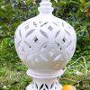 lampada grande ceramica traforata bianca artigianale caltagirone siciliana