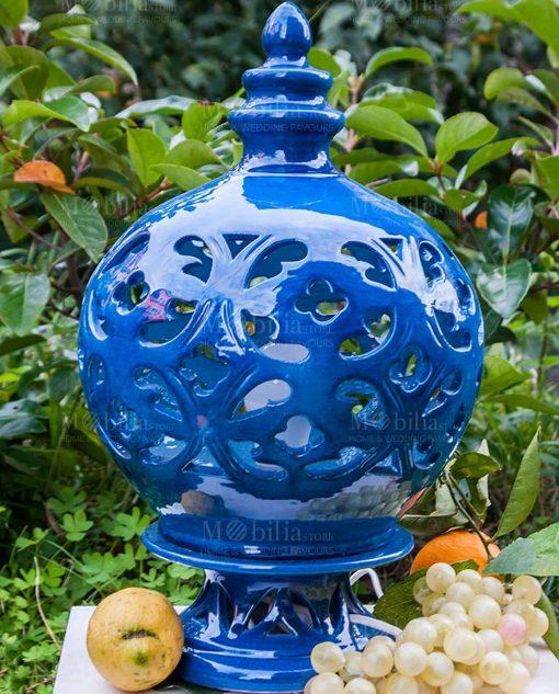 lampada grande ceramica traforata blu artigianale caltagirone siciliana