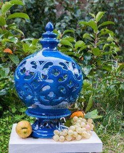 lampada piccola ceramica traforata blu artigianale caltagirone siciliana