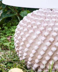 lampada pigna ceramica artigianale con paralime bianco