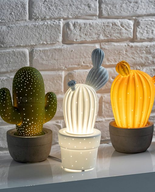 lampada porcellana cactus verde bianco e giallo brandani