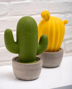lampada porcellana cactus verde e giallo brandani