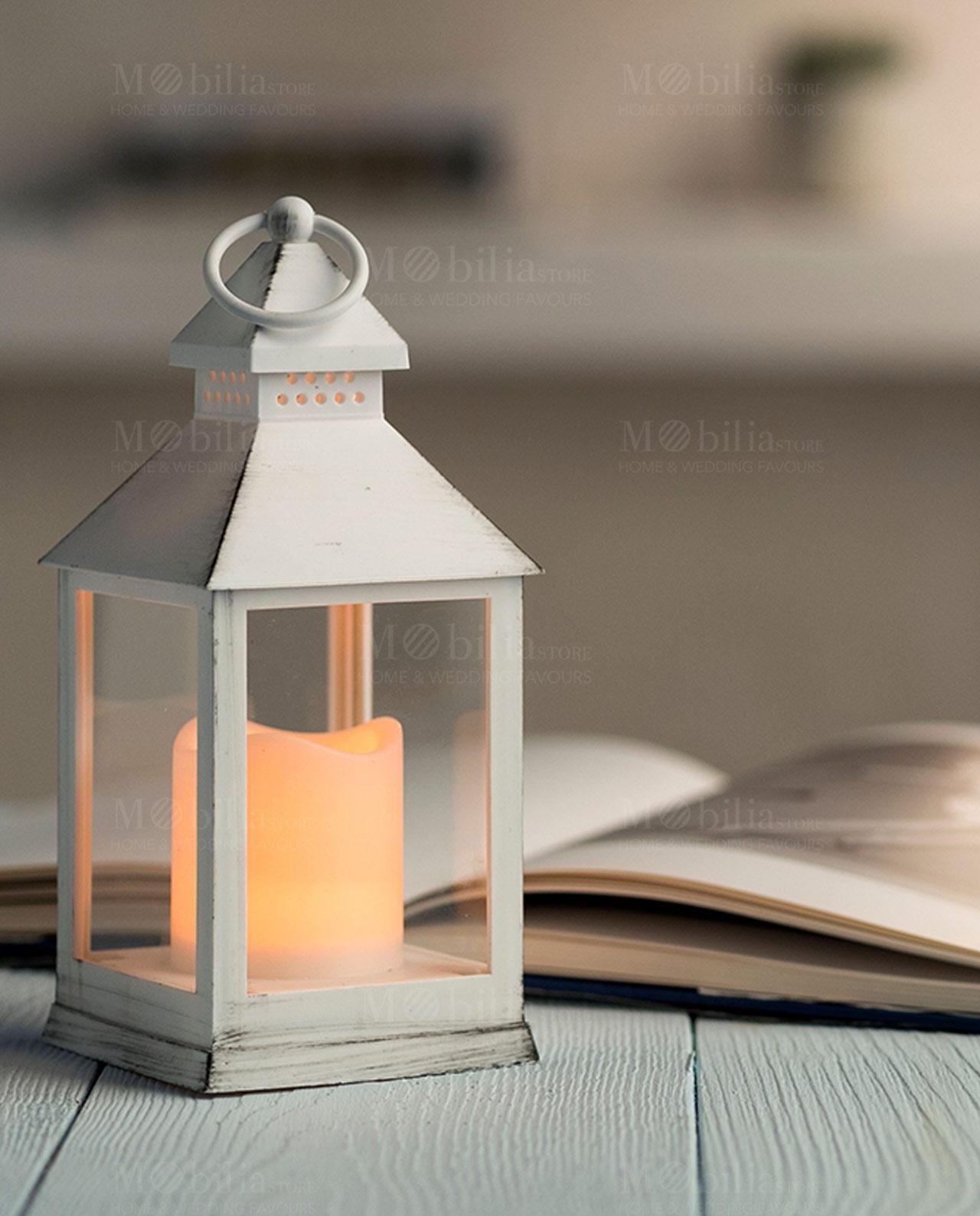 Lanterna Bianca Con Luce Led Assortita Mobilia Store Home Favours