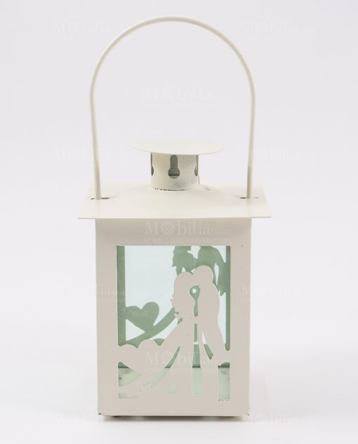 lanterna sposini bianca con cuore