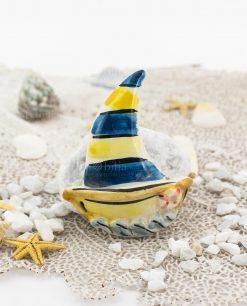 magnete barca a vela ceramica caltagirone