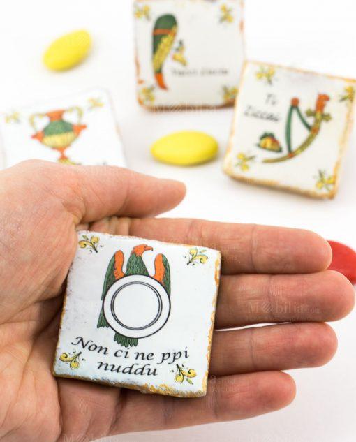 magnete carta da gioco siciliana asso ceramica