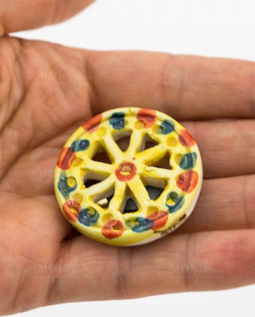 magnete ruota carretto ceramica siciliana caltagirone