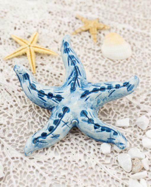 magnete stella marina blu ceramica caltagirone artigianale