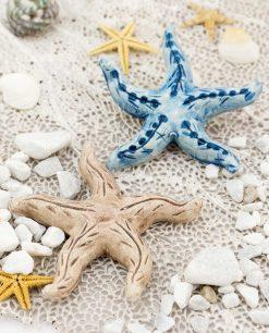 magnete stella marina due colori blu e tortora ceramica artigianale caltagirone