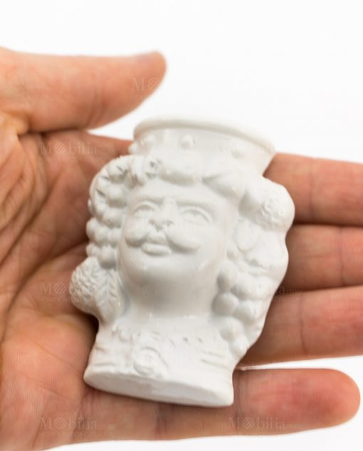 magnete testa di moro uomo ceramica bianca