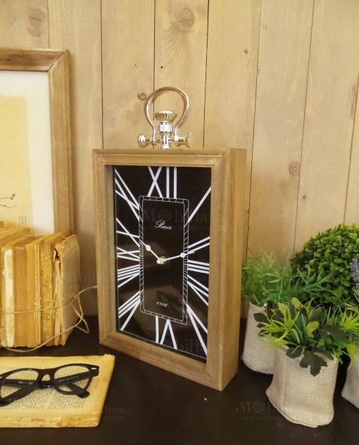 orologio da appoggio nero rettangolare legno orchidea milano