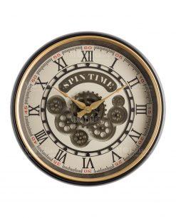 orologio da parete con ingranaggi a vista numeri romani lancette oro brandani
