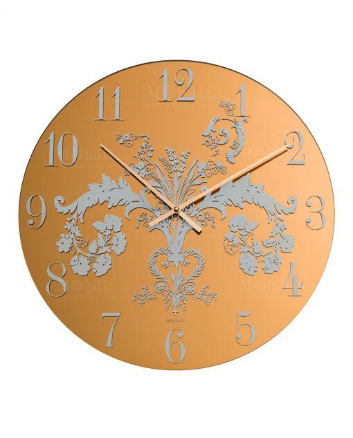 orologio da parete giallo ocra con stampa floreale brandani