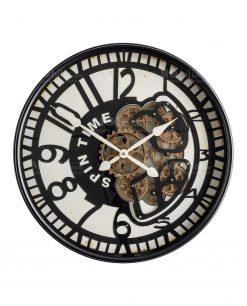 orologio da parete nero spin time con ingranaggi color oro a vista