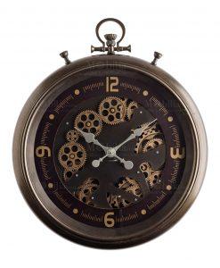 orologio da parete orologio da taschino con ingranaggi color oro a vista e base color prugna brandani
