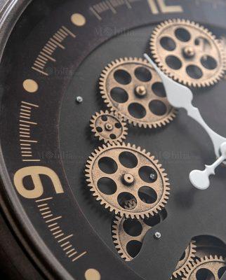 orologio da parete tortora con ingranaggi a vista color oro brandani