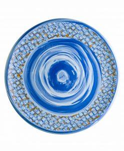 piatto da portata blu stampa geometrica linea caos brandani