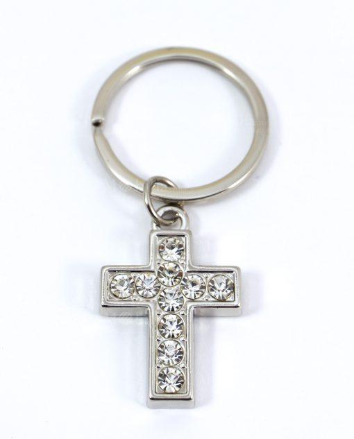 portachiavi a forma di croce con strass