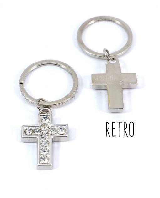 portachiavi a forma di croce con strass davanti e retro