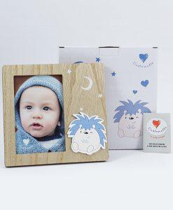 portafoto legno con applicazione poldino con scatola cuorematto
