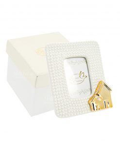 portafoto piccolo casetta oro con scatola