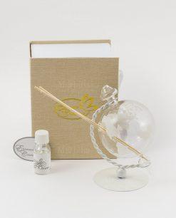 profumat6ore mappamondo trasparente con fragranza bastoncini e scatola
