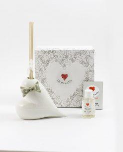 profumatore bianco cuore con fiocco a pois assortito piccolo cuorematto