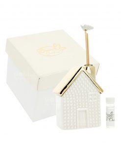 profumatore casetta con tetto color oro e scatola