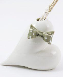 profumatore cuore bianco con fiocco pois tortora bastoncini inclusi cuorematto