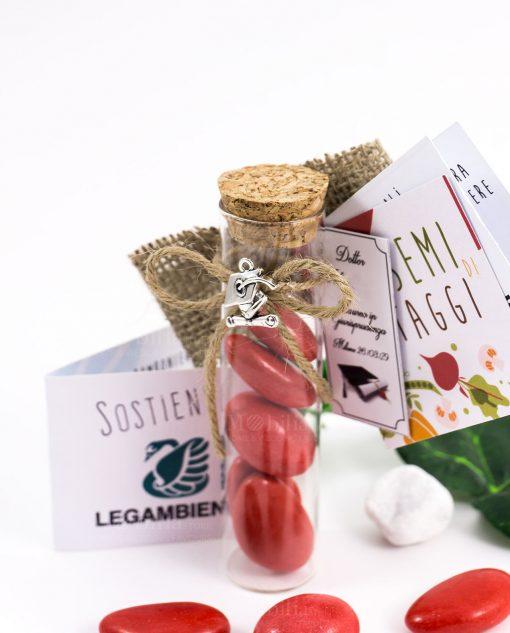 provetta vetro tappo sughero con pendente tocco cordoncino e confetti rossi bustina semi di ortaggi legambiente