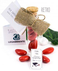 provetta vetro tappo sughero con pendente tocco cordoncino e confetti rossi bustina semi di ortaggi legambiente retro