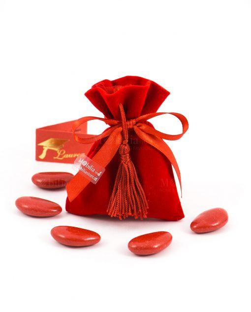 saccchetto velluto rosso con nastrino e nappina