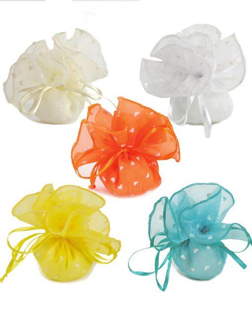 sacchettini organza con cuoricini colorati