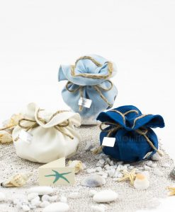 sacchetto azzurro bianco e blu con cordoncino linea oceano ad emozioni