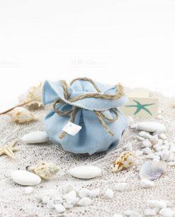 sacchetto azzurro con cordoncino linea oceano ad emozioni