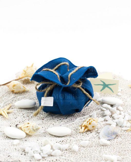 sacchetto blu con cordoncino linea oceano ad emozioni