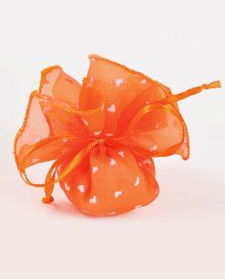 sacchetto organza arancione con cuori e confetti