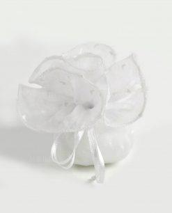 sacchetto organza bianco con cuori e confetti