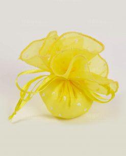 sacchetto organza giallo con cuori e confetti
