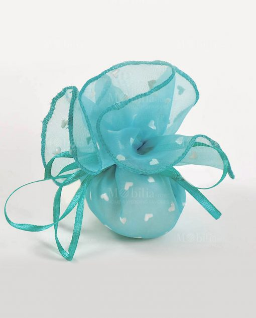 sacchetto organza tiffany con cuori e confetti