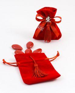 sacchetto portaconfetti velluto rosso con nappina