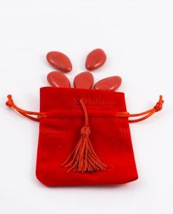 sacchetto rosso portaconfetti con nappina