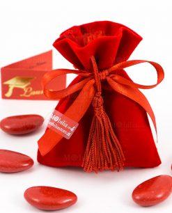 sacchetto rosso velluto con nastrino e nappina