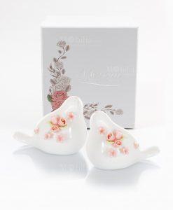 sale e pepe a forma di uccellini con roselline porcellana scatola morena