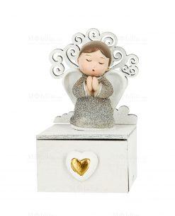 scatolina portaconfetti con cassettino cuore angioletto argento e albero della vita