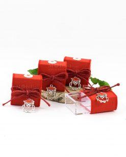 scatolina portaconfetti con ciondolo gufetto con tocco rosso cuorematto