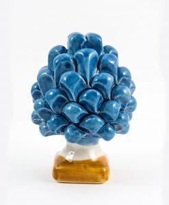 scultura pigna da appoggio blu con base gialla ceramica caltagirone